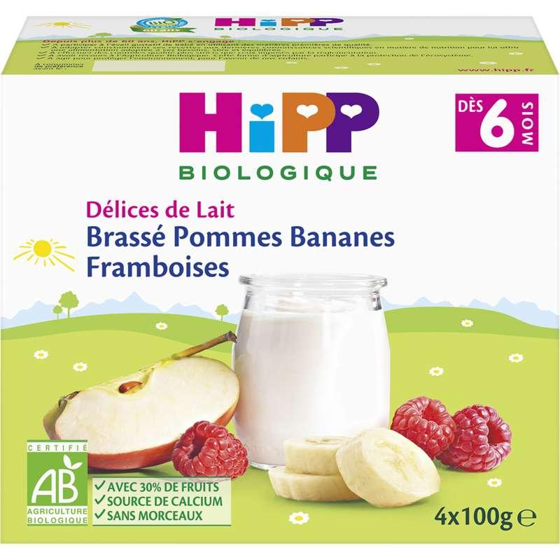 Délices de lait brassé pommes, framboises, bananes BIO - dès 6 mois, Hipp (4 x 100 g)
