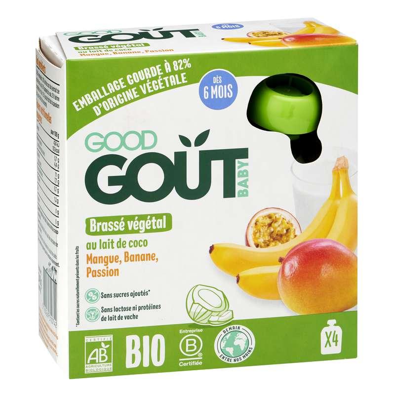 Brassé végétal Coco mangue banane passion - dès 6 mois, Good Goût (4 x 85 g)