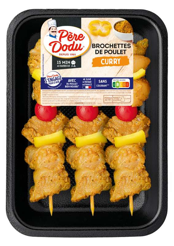 Brochettes poulet curry, Père Dodu (x3, 450 g)