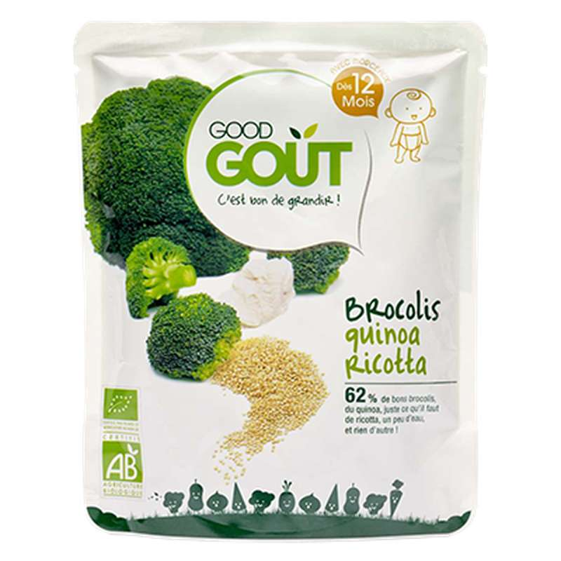 Brocolis, quinoa et ricotta BIO - dès 12 mois, Good Goût (220 g)