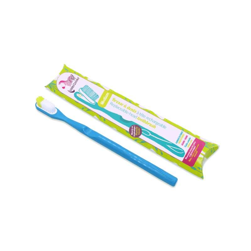 Brosse à dents médium avec tête rechargeable - bleu, Lamazuna
