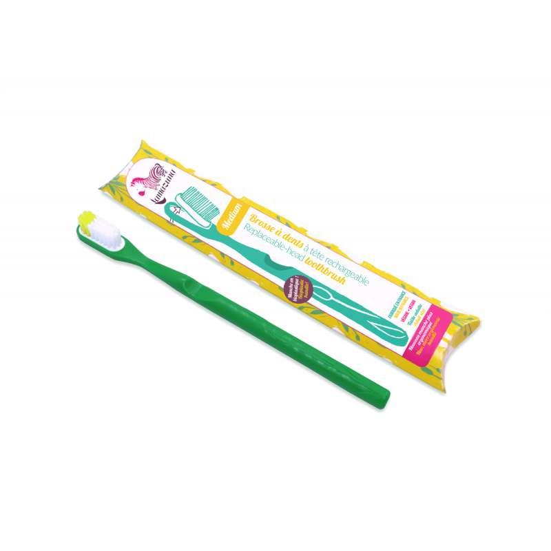 Brosse à dent medium avec tête rechargeable - verte, Lamazuna