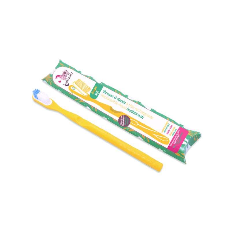Brosse à dent souple avec tête rechargeable - jaune, Lamazuna