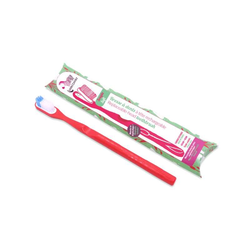 Brosse à dents souple avec tête rechargeable - rouge, Lamazuna