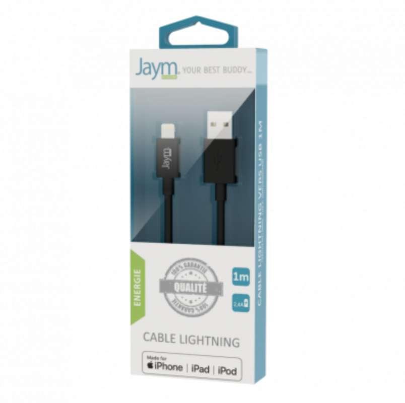 Câble charge & synchro usb vers iPhone (lightning) noir , Jaym (longueur 1 m)