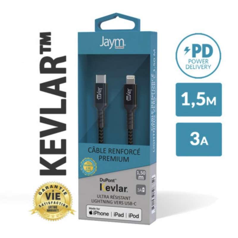 Câble renforcé en kevlar usb-c vers iPhone (lightning), Jaym (longueur 1,5 m)