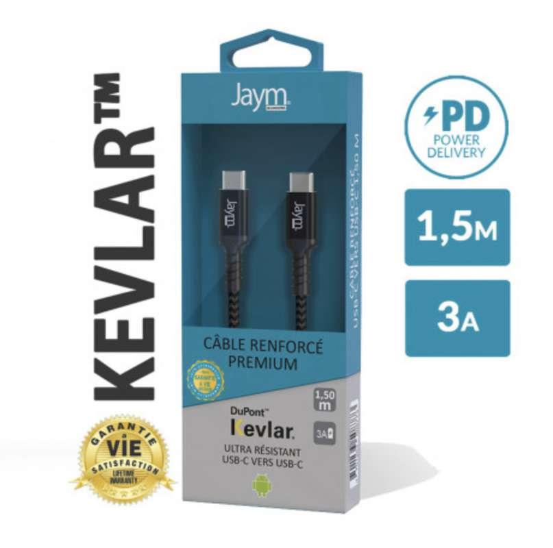 Câble renforcé en kevlar power delivery usb-c vers type-c, Jaym (longueur 1,5 m)