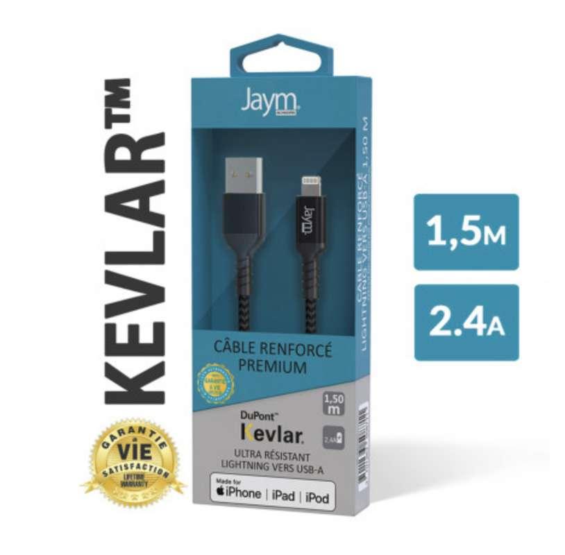 Câble renforcé en kevlar usb vers iPhone (lightning), Jaym (longueur 1,5 m)
