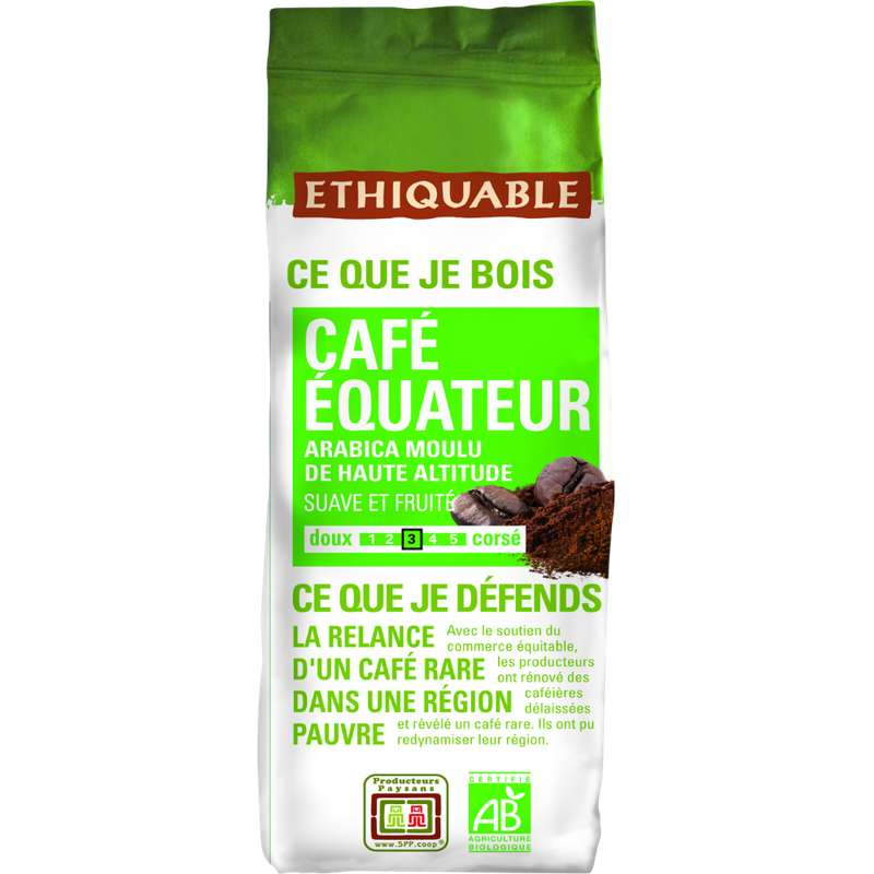 Café moulu pure origine Equateur BIO, Ethiquable (250 g)