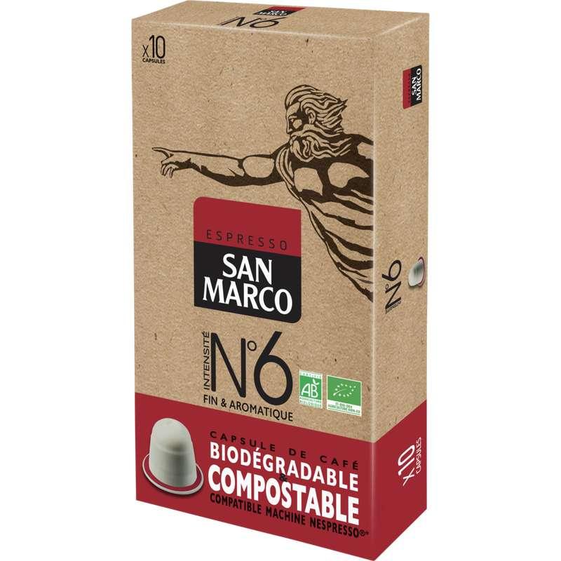 Café capsule n°6 compostable BIO, San Marco (x 10)