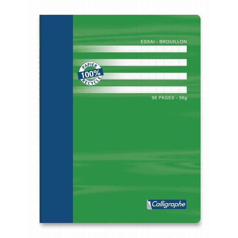 Cahier de brouillon 96 pages 100% recyclé grands carreaux, Calligraphe (17 x 22 cm)