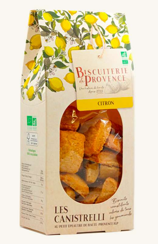 Canistrelli au citron BIO, Biscuiterie de Provence (180 g)