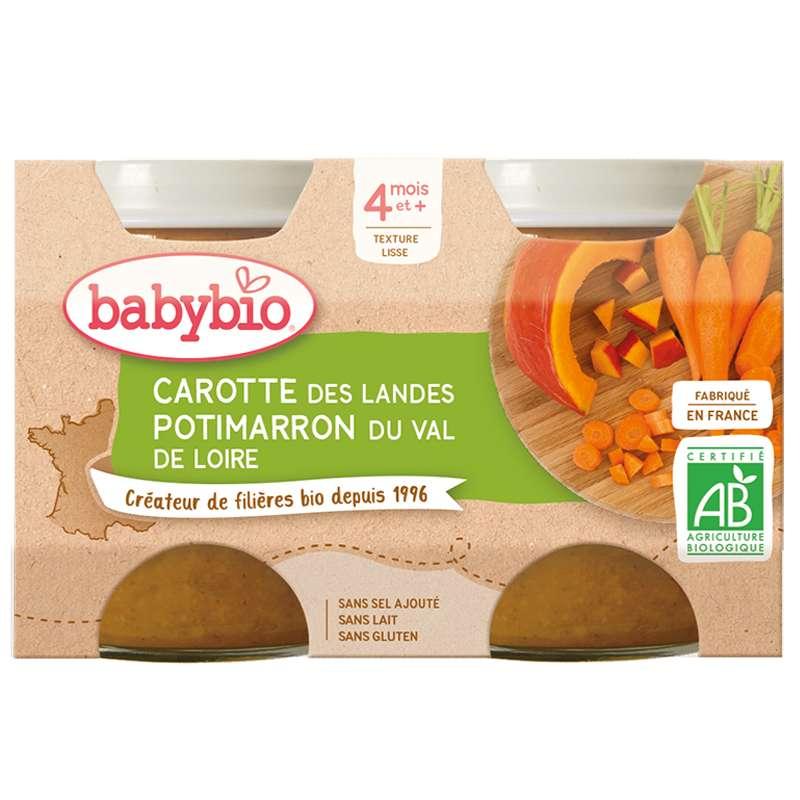 Petit pot carotte, potimarron BIO - dès 4 mois, Babybio (2 x 130 g)