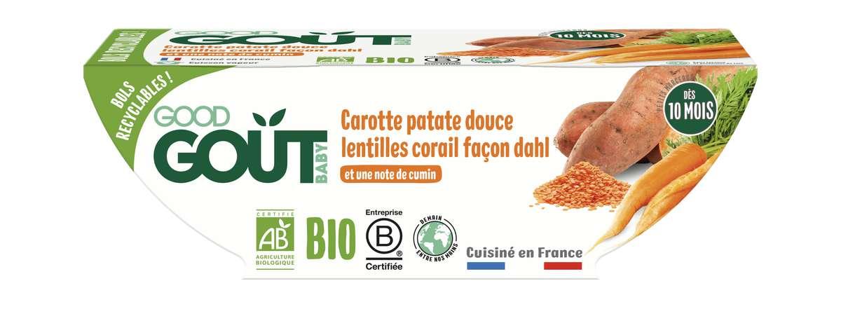 Carottes, patate douce et lentilles corail façon Dahl BIO - dès 10 mois, Good Goût (2 x 190 g)