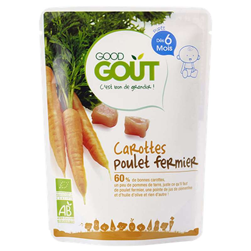 Carottes Poulet fermier BIO - dès 6 mois, Good Goût (190 g)