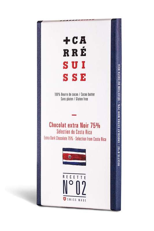 Chocolat extra noir du Costa Rica 75% - Recette n°02, Carré Suisse (100 g)