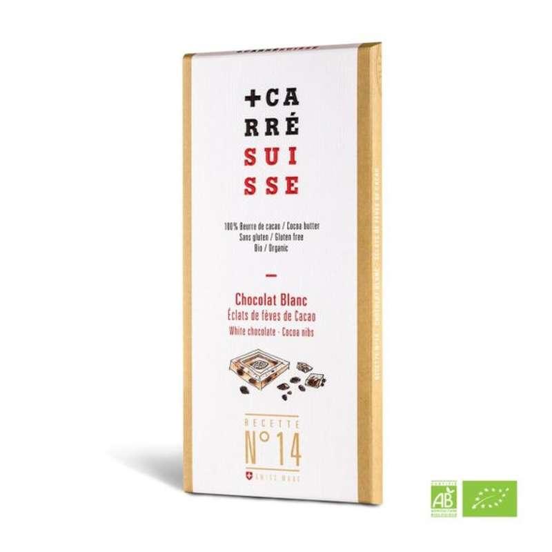 Chocolat blanc aux éclats brut de fèves de cacao BIO - Recette n°14, Carré Suisse (100 g)