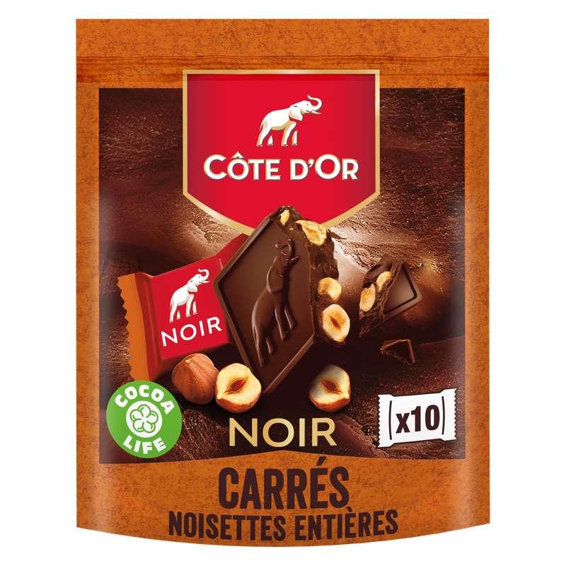 Carrés au chocolat noir et aux noisettes, Côte d'Or (x 10)