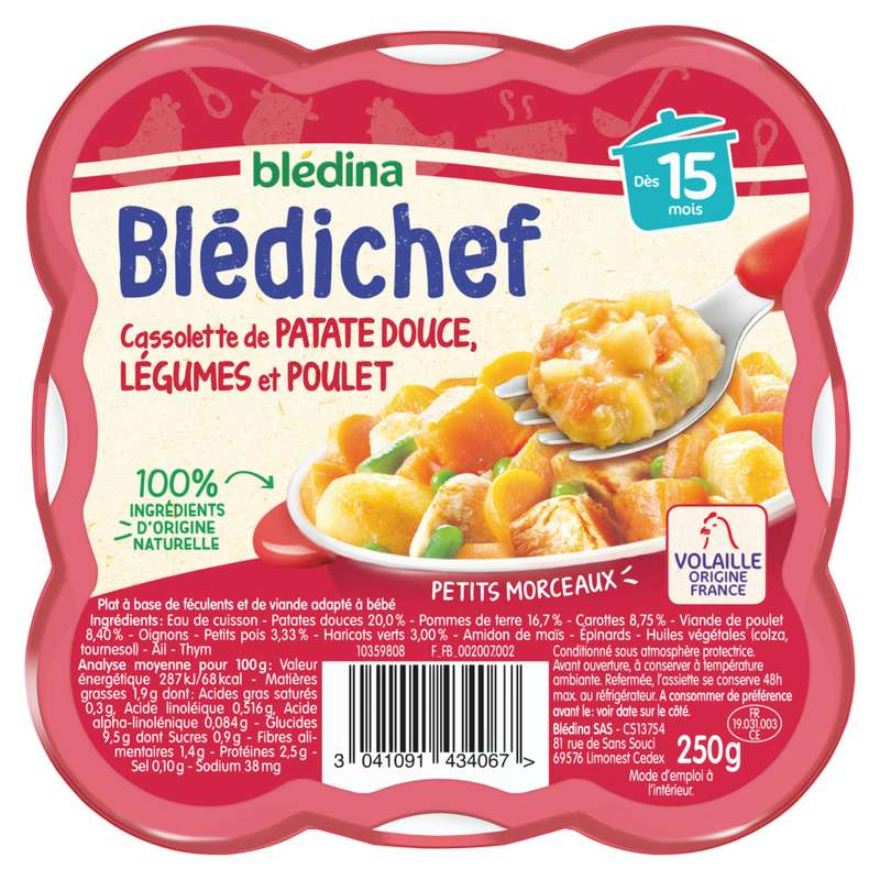 Blédichef cassolette de patates douces, légumes et poulet - dès 15 mois, Blédina (250 g)