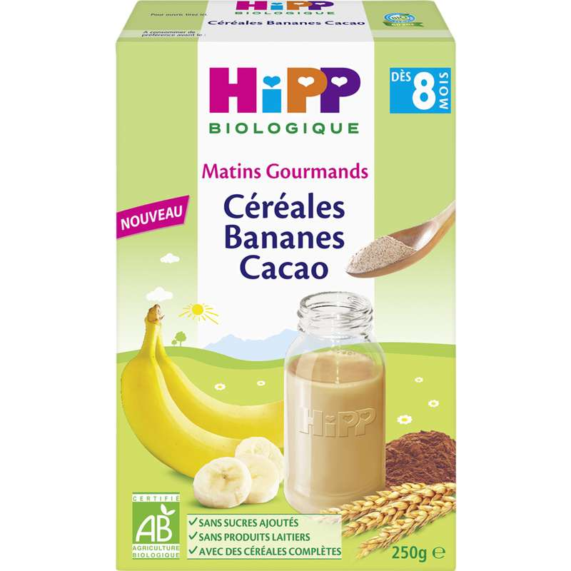 Matins gourmands céréales bananes cacao BIO - dès 8 mois, Hipp (250 g)