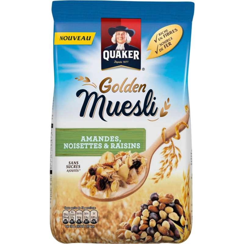 Céréales gold amandes, noisettes et raisin, Quaker (500 g)