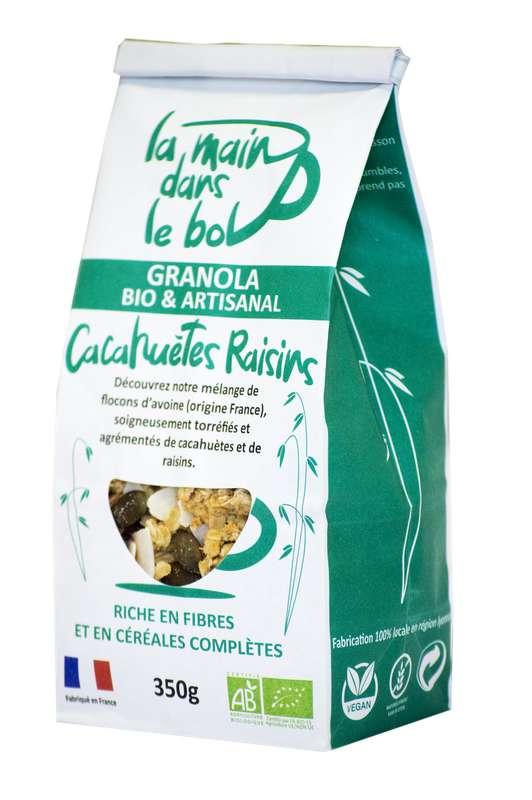 Céréales granola cacahuètes et raisins BIO, La Main dans le Bol (350 g)