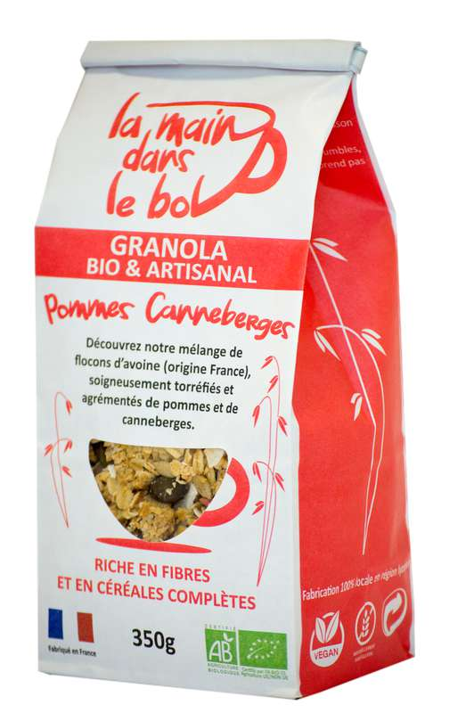 Céréales granola canneberges et pommes BIO, La Main dans le Bol (350 g)