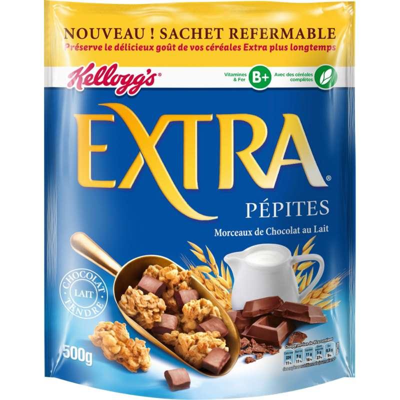 Extra aux morceaux de chocolat au lait, kellogg's (500 g)