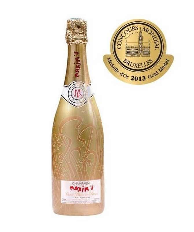 Champagne Or cuvée Blanc de Blancs médaille d'or 2013 au concours mondial de Bruxelles, Maxim's (75 cl)