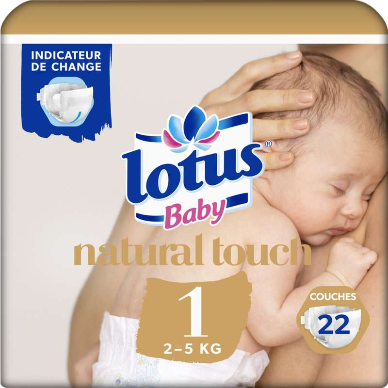 Couches natural touch T1 / 2-5 kg, Lotus Baby (x 22)