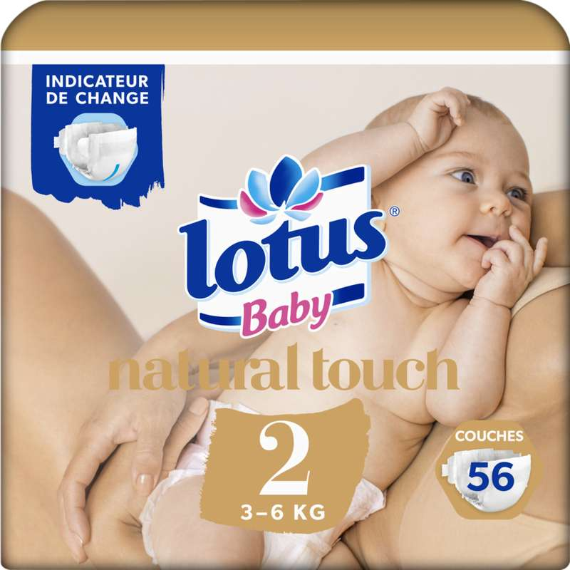 Couches natural touch T2 / 3-6 kg, Lotus baby (x 56)