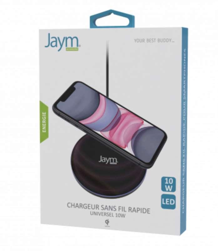 Chargeur intelligent pad à induction charge rapide QI 10W noir, Jaym