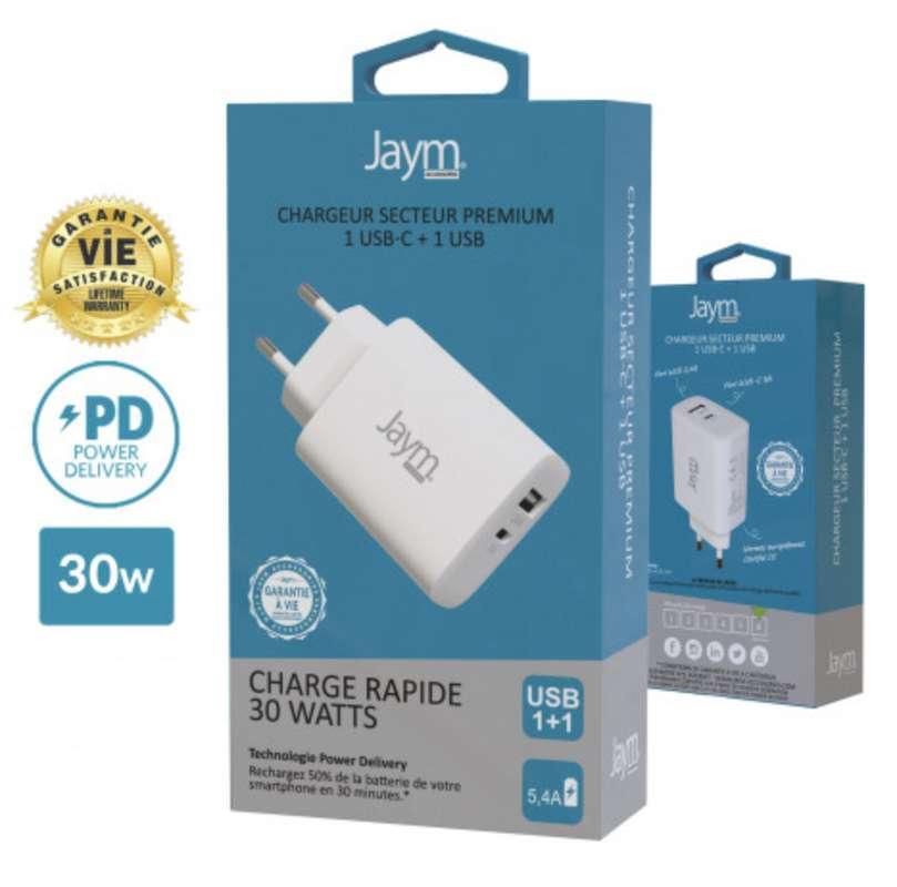 Chargeur secteur rapide usb-c 30W/2 usb/ usb-a et usb-c blanc, Jaym
