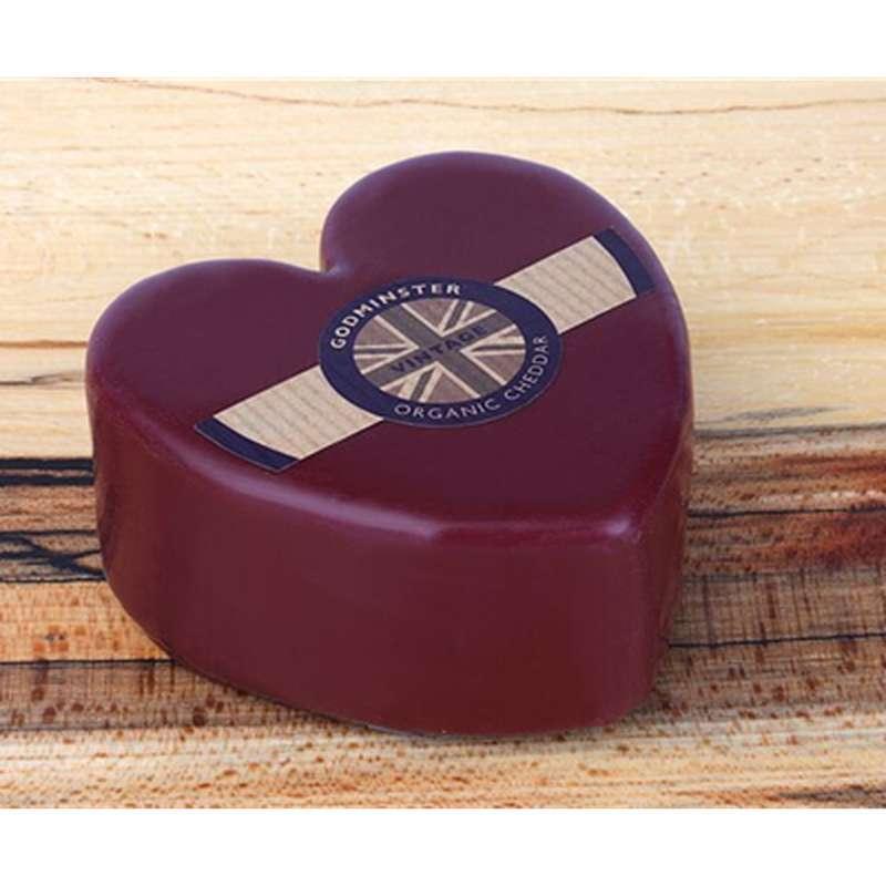 """Cheddar """"heart"""" Godminster BIO  en forme de coeur, Wyke Farms Wyke (200 g)"""