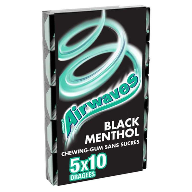 Chewing-gum sans sucre Black Menthol, Airwaves (5 étuis de 10 dragées)