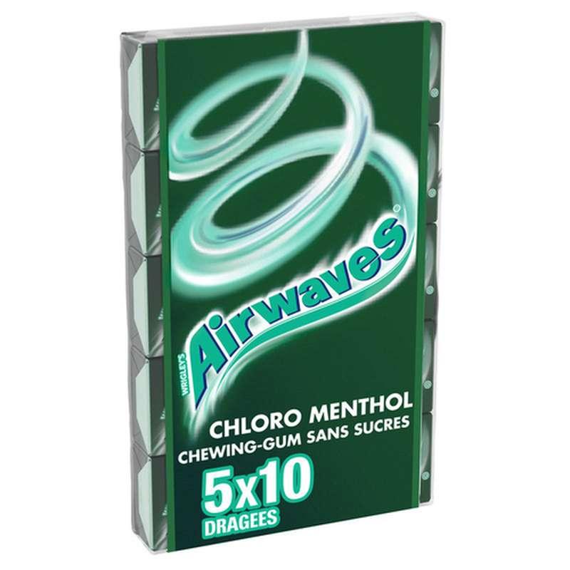 Chewing-gum sans sucre Chloro Menthol, Airwaves (5 étuis de 10 dragées)