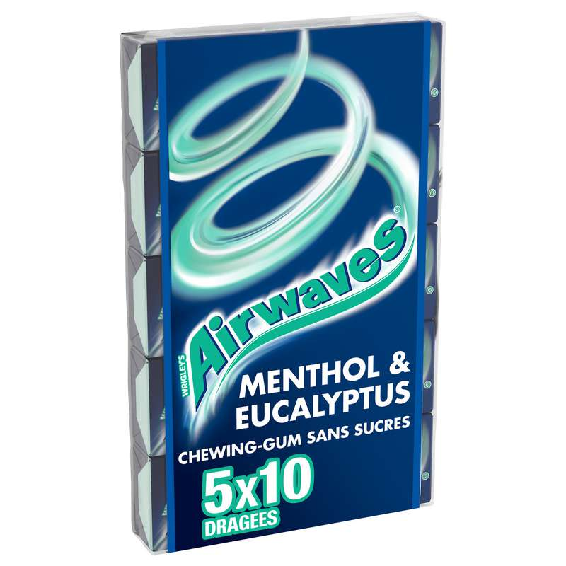 Chewing-gum sans sucre menthol Eucalyptus, Airwaves (5 étuis de 10 dragées)