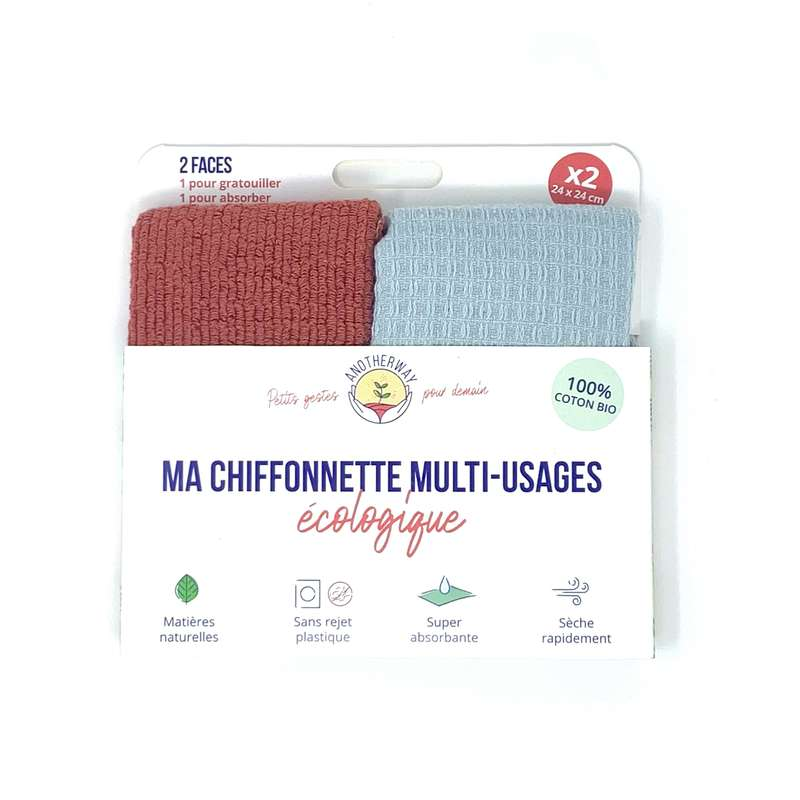 Chiffonnettes multi-usages lavables, Anotherway (x 2)