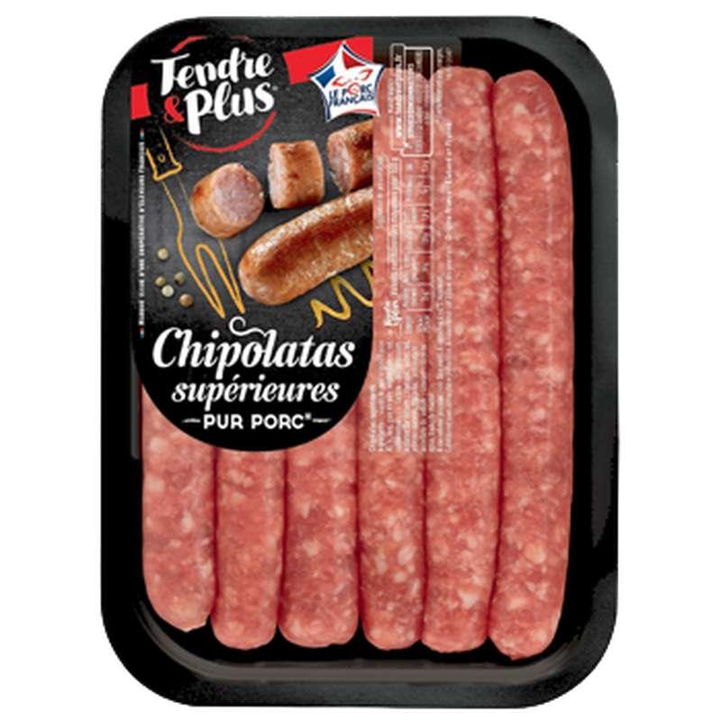 Chipolatas supérieures pur porc, Tendre & Plus (x 6, 330 g)