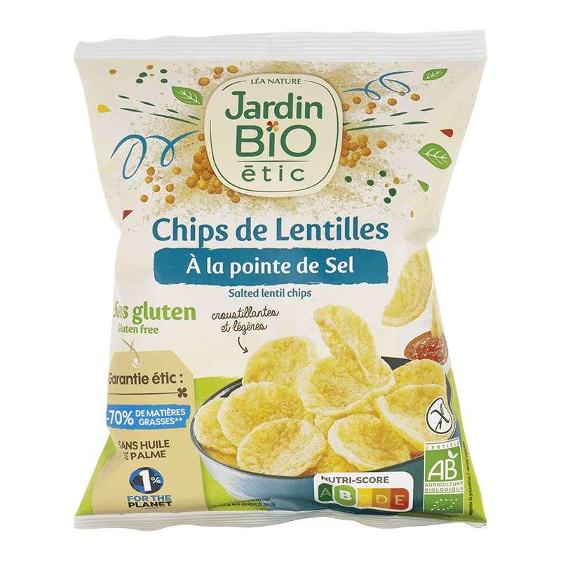 Chips de lentilles à la pointe de sel sans gluten BIO, Jardin Bio étic (50 g)
