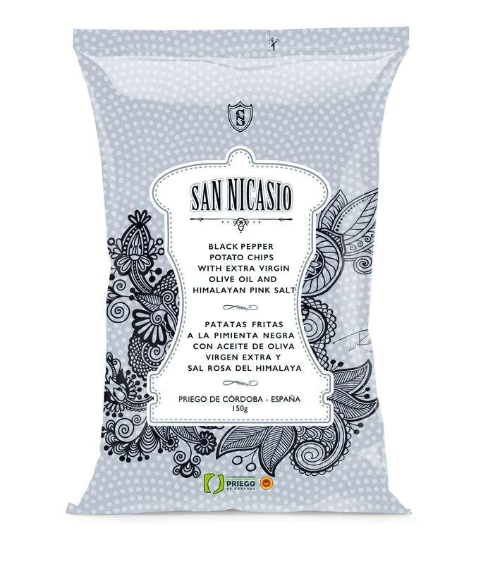 Chips de luxe à l'huile d'olive vierge extra, au sel rose et au poivre noir, San Nicasio (150 g)