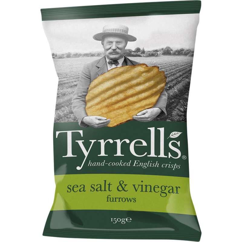 Chips ondulées au sel de mer et au vinaigre, Tyrell's (150 g)