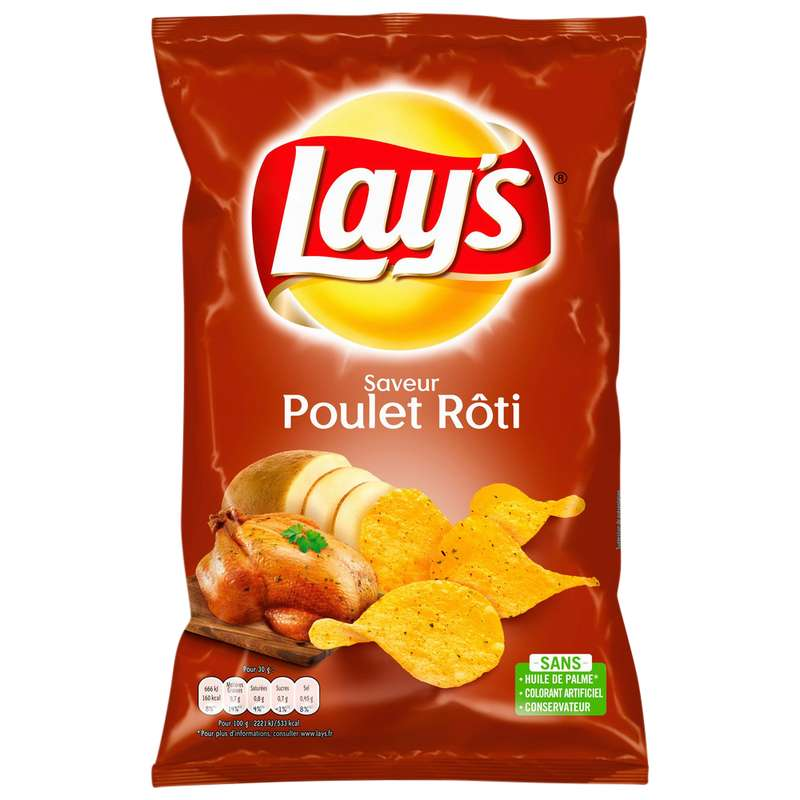 Chips saveur poulet thym roti, Lay's (130 g)