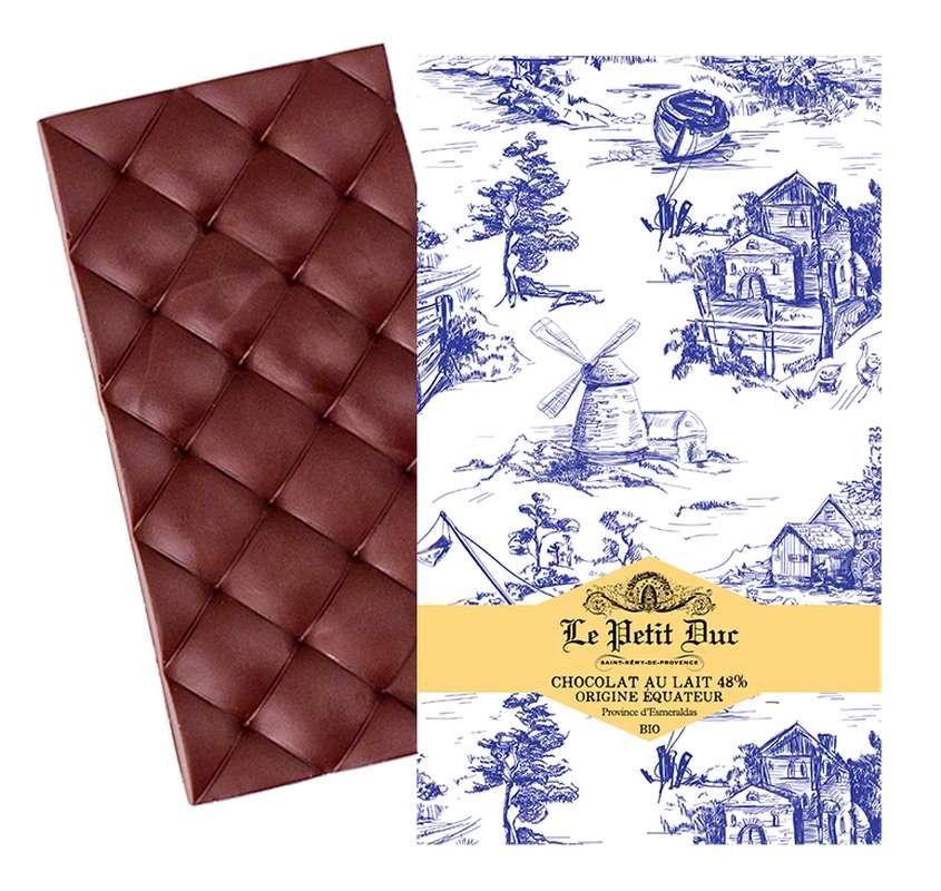 Chocolat au lait 48% origine Équateur Esmeralda BIO, Le Petit Duc (70 g)