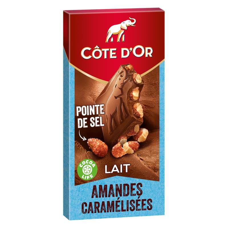Chocolat au lait amandes caramélisées et pointe de sel, Côte d'Or (180 g)