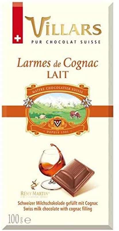 Chocolat au lait aux larmes de Cognac, Villars (100 g)