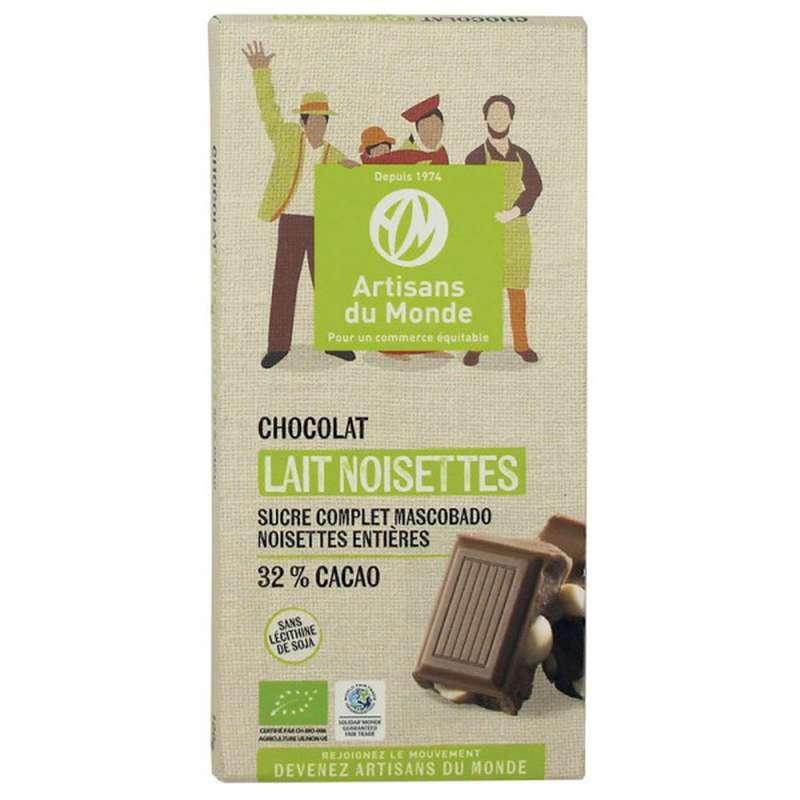 Chocolat Lait Noisettes 32% BIO, Artisans du monde (100 g)