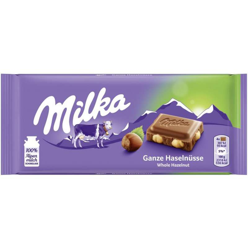 Chocolat au lait avec noisettes entières, Milka (100 g)