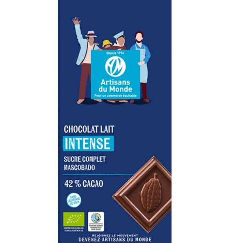 Chocolat Lait Intense 42% BIO, Artisans du monde (100 g)