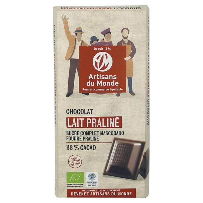 Chocolat Lait Praliné 33% BIO, Artisans du monde (100 g)
